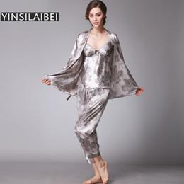 Wholesale Plus Size Silk Pajamas - Wholesale- 3pcs Set Faux Silk Satin Pajamas for Women Pijamas Mujer Ladies Pyjamas Femme Women Plus Size Sleepwear Nightwear SY102#0