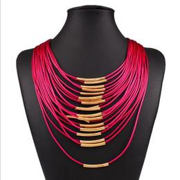 Европейский преувеличенные мода ожерелье женщины осень Марка дизайнер диких многослойная искусственная кожа кисточкой конфеты цвет колье ожерелье Оптовая от