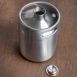 2019 bote de porcelana de metal grossista 2L Homebrew Growler Mini Barril de Aço Inoxidável Cerveja Growler Cerveja Barril Parafuso Tampão De Vinho Pote Barril De Cerveja OOA2139