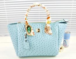 Bolsos de marca de piel de avestruz online-Hot Sale-Fashion brand bolso de cuero tote bolsas de hombro para mujer de color caramelo hombro avestruz bolso de cuero grano bolso cross-body bags
