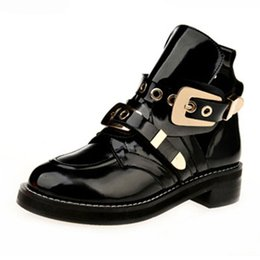 Wholesale Metal Heeled Boots - Wholesale- 2015 NEW brand desgin women boots platform low heel ankle boots patent leather Short Shoes Motorcycle Boots Metal Decoration