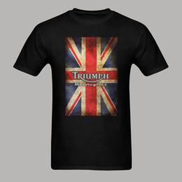 Wholesale Motorcycle Triumph - Wholesale- Triumph Motorcycle Biker England Flag Classic Logo tshirt homme harajuku Style Shirt camiseta short Sleeve Print Tee Shirt