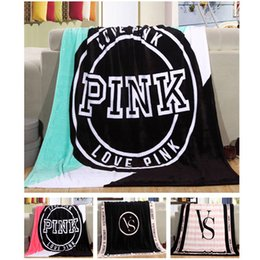 Wholesale Wholesale Cotton Blankets - Fashion VS Pink Letter Blanket Soft Coral Velvet Rug Beach Towel Blankets Air conditioning Rugs Comfortable Carpet 130*150cm