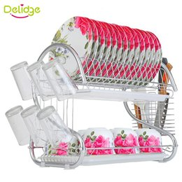 Wholesale Drain Dish Rack - Delidge 1 pc 2 Layers Dish Rack Metel S-Shaped Tableware Shelf Plate Cutlery Cup Rack Drain Bowl Rack Kitchen Dish Shelf