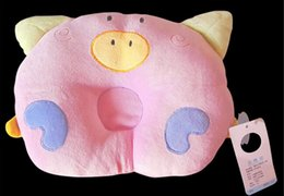 Wholesale Head Pc For Baby - Wholesale- 1 Pcs Cute Pig Shape Baby Pillow Prevent Flat Head Soft Cotton Sleeping Support Pillow For Baby Kids