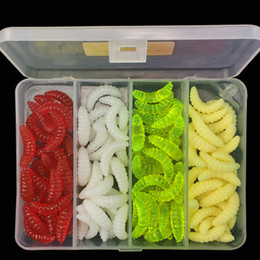 Wholesale Soft Worms - 100pcs 1box 2.4cm 0.5g Breadworm Silicone Lures Fishing Lure Soft Baits Artificial Bait Pesca Tackle Carp Fishing Accessories