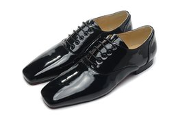 Wholesale Married Dress Man - Fashion casual men shoes pointed toe leather black patent leather married men's oxfords shoes