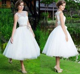 Wholesale Keyhole Tea Length Wedding Dress - 2017 Garden Tea Length Wedding Dresses Sheer Jewel Neck Ribbon Sash Short Bridal Gowns Tulle Bandage Keyhole Back A Line