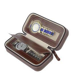 \ Luxe Stockage Zippered Case Organisateur En Cuir 2pcs Montre Case Case Wallet Case De Stockage De Stockage De Montre, Boîtes D'emballage Fournisseur Personnalisé ? partir de fabricateur