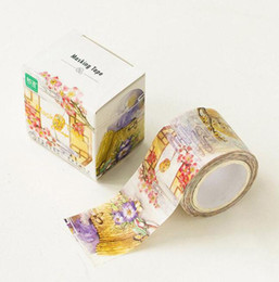Wholesale Diary Stories - Wholesale- 2016 30mm Wide Vintage Blooming Flowers Story Washi Tape Adhesive Tape DIY Diary Scrapbooking Sticker Label Masking Tape Statio