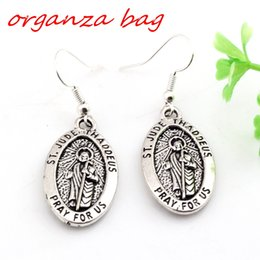 Wholesale Brass Jesus - Hot ! 24 pair Antique silver ST. JUDE THADDEUS Jesus Oval Medal Charms Earrings With Fish hook Ear Wire 16 X 45mm