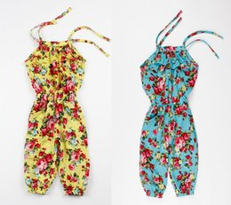 Wholesale new summer outfits - New Baby Clothes Girl's Floral Jumpsuit Girl Suspender Trousers Pant 100% Cotton Flower Print Kids Summer Ultrathin Comfortable Outfit 5p l