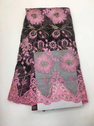 Wholesale Pink Tulle Fabric Netting - fuchsia pink lace fabric embroider tulle net lace fabric high quality african lace with stones beads for wedding dress 2017