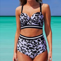 9c1d308ef4d 2017 Women s Leaves Print Push Up High Waist Plus Size Bikinis Sets  Swimwear Swimsuit Brazilian Beach Wear Bathing Suit 4XL