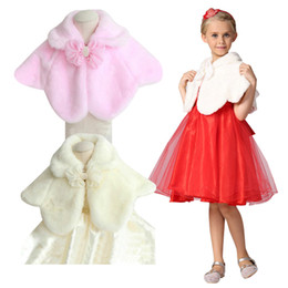 Wholesale Children Plain Stocking - Fashion Children Wedding Jacket Party Shawls Long Sleeve Girls Princess Accessories Winter Faux Fur Coats free shipping in stock