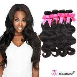 Wholesale Indian Natural Wave Hair Extensions - Human Hair Extensions Peruvian Body Wave Hair Weaves 4 Bundles Human Hair Bundles Natural Color Top Quality