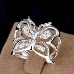 Wholesale European American Fashion Ring - Inlaid Butterfly Ring Hot Opening Hollow Adjustable Adjustable Retro Neutral Ring European and American Fashion Ring