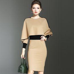 Wholesale Mini Dress Size Large - 2017 High Quality Dress Spring autumn New Europe America Large Size Women Clothing Ladies Fashion Slim Long Sleeved Dress Size S-2XL