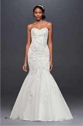 Wholesale Mermaid Wedding Dresses Sweetheart Neckline - 2017 Lace Trumpet Wedding Dresses with 3D flowers and beaded applique detail Sweetheart neckline WG3839 Bridal Gowns
