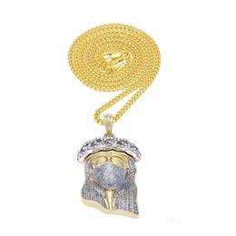 Wholesale Necklace Pendants Brass - 2017 New Arrivel Hip Hop Christ 24K Gold Plated Jesus Head Charm Pendant Religious Catholic Jesus Face Piece Pendant Jewelry