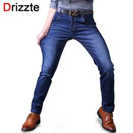 Wholesale Men Jeans Size 38 - Wholesale- Drizzte Mens Stretch Jeans Black Blue Soft Denim Trendy Designer Slim Fit Jean Jeans Size 30 32 33 34 36 38 40 Sale