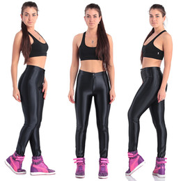 Wholesale High Waisted Womens - Europe American Style Apparel Shiny Women's White Pants High Waisted Womens Trousers Leggings Candy Color Shiny Dance Disco Pants