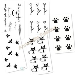 Wholesale Tatoo Water - Wholesale- LotHC01 2016 Mix Color Sexy Water Transfer Tattoo Temporary Tattoo Sticker Black White Freedom Birds Cat Foot Ahchor Fake Tatoo