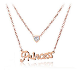 Wholesale Lady Princess Wholesale - Lady Letter Princess Necklaces Korea Style Crystal Love Pendant 2 Layer Chains Rose Gold Plated Charm Necklace Jewelry Christmas Gift