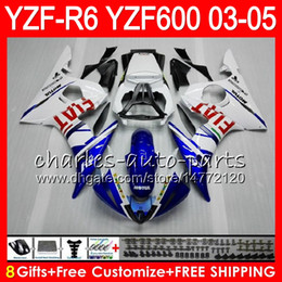fairings body Promo Codes - 8Gifts 23Colors Body For YAMAHA YZF R 6 YZF-R600 YZF 600 YZF-R6 03-05 56HM16 blue white YZF600 YZFR6 03 04 05 YZF R6 2003 2004 2005 Fairing