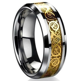 Wholesale celtic dragon wedding rings - Brand New Fashion Celtic Dragon Stainless Steel Titanium Men's Wedding Band Rings 1 Pcs Free Shipping[JR14510]