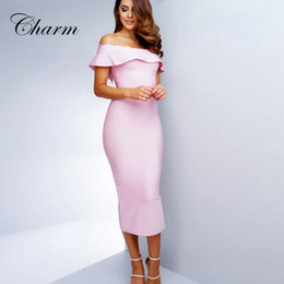 Wholesale Light Pink Women S Dresses - Wholesale- 2016 New Ruffles Light Blue Red Pink Off The Shoulder Strapless Bandage Dress Mid Calf Celenrity Bodycon Noble Party Dresses