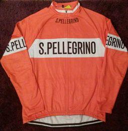 laranja ciclismo jersey térmico Desconto 2019 San pellegrino orange Inverno Velo Térmica roupas de Ciclismo MTB Bicicleta Ciclismo Jersey Longo Ropa ciclismo Invierno Hombre Maillot