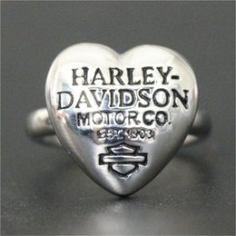 Wholesale Silver Heart Band Ring - 2pcs lot Hot Selling New Arrival Heart Biker Ring 316L Stainless Steel Jewelry Band Party Silver Motorbiker Ring