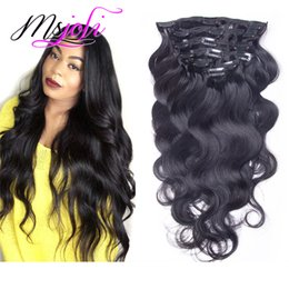 12 24 extensions en Ligne-La vague du corps de Malaisie Human Human Hair 120G Clip In Extension Full Head Couleur naturelle 7pcs / lot 12-28 pouces de Ms Joli