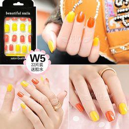 Wholesale Shorts French Nail Tips - Wholesale-Sunflower series Bright orange and yellow pure color false nails french Cute fake nails Jaanese Acrylic short full nail tips