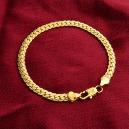 Wholesale Flat Curb Chain Wholesale - 18K Gold Plated Bracelets Jewelry Women Men 5mm Flat Curb Snake Chain Bracelets 8inch Good Gift