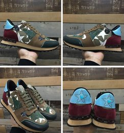 Wholesale Perfect Band - Original Box - Men Camustars Studded Camouflage Leather Sneakers Shoes Perfect Rockstud Women Casual Shoes Rock Runner Studs Leisure 36-46