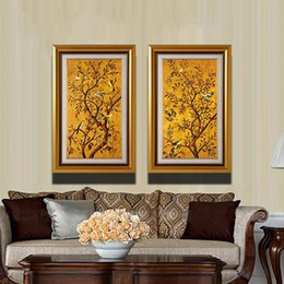 Wholesale Picture Frame Wall Modern - Wall Art Canvas Birds On Tree Painting For Living Room Modern Canvas Wall Art Prints Wall Art Picture Vintage Paintings With Frame