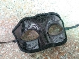 Wholesale One Sided Masks - Unisex Sparkle Glitter Lace side Masquerade Venetian Mask Mardi Gras Party Mask Costume Decorations One Size Fit Most -Black