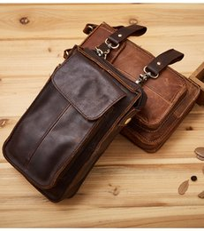 Wholesale Leather Waist Pouches Mens - Mens Genuine Leather Hook Cell Mobile Phone Belt Pouch Vintage Purse Waist Bag
