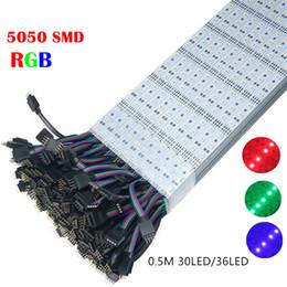led-streifen aluminium Rabatt Super helles DC12V LED Stab-Licht RGB SMD 5050 50cm 36LED 30LED harte steife Stableuchte Aluminium führte Streifenlicht für Kabinett
