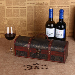 Wholesale Wooden Bottle Container - Vintage Red Wine Box Single Bottle Storage Box Wooden Portable Vinho Champagne Gift Box Packing Container With Handle ZA3268