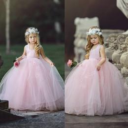 Wholesale cheap tutu dresses for kids - Cheap Pink Flower Girls' Dresses For Wedding Ball Gown Tutu Boho Kids Formal Wear Sleeveless Long Beach Girl's Pageant Gowns