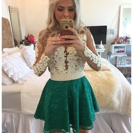 Wholesale Homecoming Coctail Dresses - Long Sleeve 2017 New Arrival Sweetheart Coctail Dresses Beads Button Pearls vestidos de fiesta white Green Lace Homecoming Prom Gown