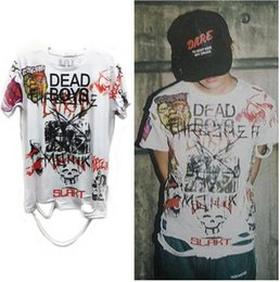 Wholesale Graffiti Skull - Newest korean fashion men t-shirts graffiti male boys Bigbang FXXK IT hollow out t shirt with skull mens hole hip hop top&tee D39