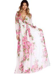 Wholesale Girls Dress Long Sleeves - Girl Maxi Bohemian Long Dress Demi-season Sexy V-neck With Long Sleeves Dress Floral Print Chiffon Free Everyday Dress WX100014