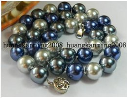 """Wholesale 12mm Multicolor Shell Pearl Necklace - Free Shipping **Pretty 12mm Multicolor Shell Pearl Necklace AAA 18"""""""
