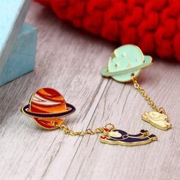 Wholesale Wholesale Enamel Brooch - Wholesale- fashion jewelry accessories metal enamel epoxy cute planet astronauts spaceman rabbit collar hat bag brooches pins