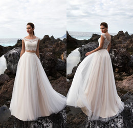 Wholesale Custom Crops - 2017 New Summer Beach Two Pieces Wedding Dresses Lace Crop Short Sleeves Long Tulle Bridal Gowns Bohemian Wedding Gowns