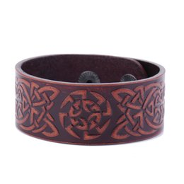 Wholesale Wholesale Vintage Wide Cuff Bracelets - Vintage Design Badge Handmade Wide Studded Cuff Wristband Men's Leather Bracelet Jewelry Genuine Leather Bracelets